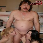 two teen chicks and an old dick