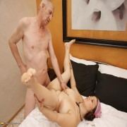 Horny big breasted babe doing a dirty old man