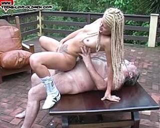 Blonde teeny slut having fun with a mature guy