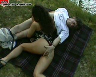 teeny slut fucking an old man outside