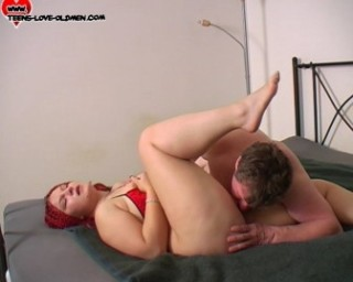 young girl is fucked by an old dude, and she loves it